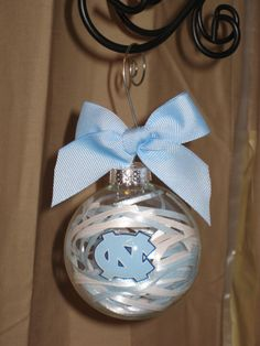 UNC North Carolina Handmade Glass Ornament by ScrapsandFlowers