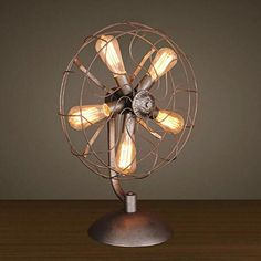 Industrial Metal Fans Desktop Lamp