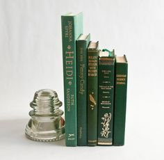 Hunter Green Book Collection Vintage Wedding Decor by OllyOxes