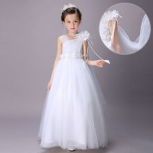 Hot White Girl Party Dress Floral Chiffon Ankle-length Kid Clothes Christmas Wedding Tutu Shiny Ball Gown Vestido Infantis 4-16y(China (Mainland))