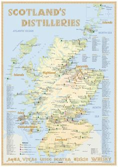 Distilleries Map Edition 2013 Poster with all Whisky Distilleries in Scotland Up to date is the edition 2016 Inverness, Scotch Whisky, Whisky Islay, Whiskey Distillery, Whisky Map, Whisky Club, Equador, Single Malt Whisky, Voyage Europe