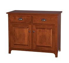 Amish Plymouth Two-Door Dining Buffet Built to look beautiful and offer strength and durability, the Plymouth is Amish made. Custom made in the wood and stain you choose. #buffet #diningstorage