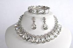 Gorgeous Crystal Statement Necklace, Bracelet & Earring Set (Sparkle-1502)