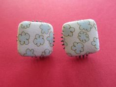 Button Earrings Fabric Button Earrings Post by BrownBeaverBeadery