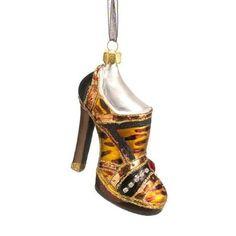 "3.75"" Fashion Avenue Animal Print High Heel Shoe Glass Christmas Ornament"