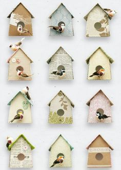 The Birdhouse Wallpaper by Studio Ditte is a quirky design featuring pretty little birds living in a variety of vintage papered and fabric houses.