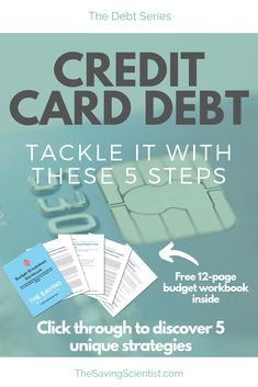 Credit card debt can seem insurmountable. Tackle your credit card debt with these 5 strategies. Paying Off Credit Cards, Payday Loans, Budgeting Tips, Debt Free, Finance Tips, Money Management, Money Saving Tips, Bliss, Heart