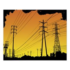 Power lines poster print