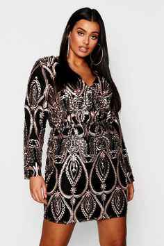 2c08b8f15af8f Boohoo lace  amp  sequin plunge mini dress.  boohoo  plussize   plussizefashion Plus