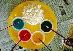 Painted popcorn for kids art party. sweetened evap. milk + food coloring = edible paint. super cute. Art Party Activities, Activities For Kids, Preschool Ideas, Craft Ideas, Sensory Activities, Food Ideas, Kids Art Party, Craft Party, Art Birthday