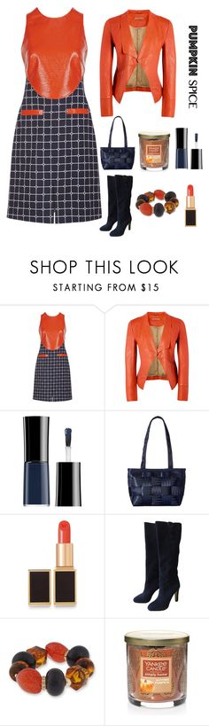 """pumpkin spice"" by im-karla-with-a-k ❤ liked on Polyvore featuring Courrèges, Richards Radcliffe, Giorgio Armani, Harveys, Tom Ford, Jimmy Choo, Erica Lyons and Yankee Candle"