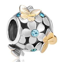 Flying Butterfly Flower Golden .925 Sterling Silver Charm Aquamarine Crystal Bead Fit Pandora Charms