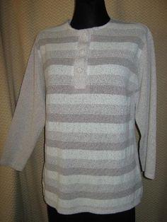 NEU* Edler * Vintage * Designer* Feinstrick * Streifen * Pullover * Gr. 40- 42, 44/ M- L, nude*