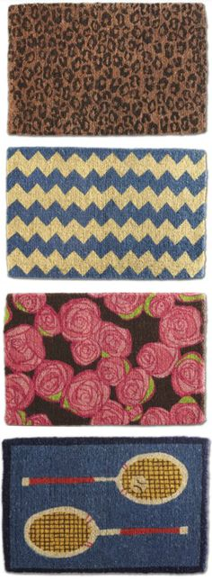 Leopard, chevron, roses, and tennis -- delightful doormats!