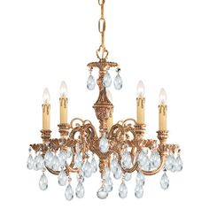 Olde World 5 Light Candle Chandelier Crystal Type: Majestic Wood Polished - http://chandelierspot.com/olde-world-5-light-candle-chandelier-crystal-type-majestic-wood-polished-588938615/
