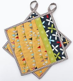 Harvest Bunting  Handmade Quilted Potholders  by TheMJCollection, $19.50