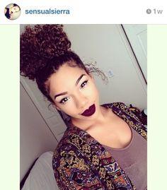 Loving this look! Ornate Red Wine Curly Bun!❤
