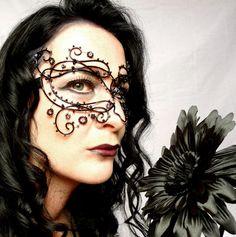 Gothic vine masquerade mask black handmade by gringrimaceandsqueak, $170.00