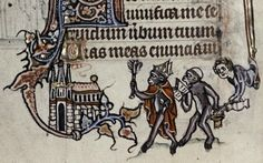 Apes Parodying the Church. Psalter. Ghent (Flanders). ca. 1320-1330. Oxford, the Bodleian Library, Ms. Douce 6, fol. 17v.