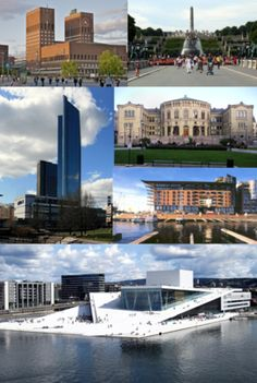 From top left clockwise: Oslo city hall, Frogner park, Norwegian parliament, Aker brygge, Oslo opera house, Oslo plaza.