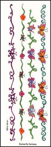 "Butterfly Fantasy Temporaray Tattoo by Tattoo Fun. $1.95. This 9"" x 2 3/4"" sheet of temporary tattoos contains four colorful butterfly armbands/anklets. Each one is a unique design. One is red and has two butterflies and swirls. One is a band of flowers and butterflies. Another has four butterflies on a green band and one is four orange butterflies on a swirled green band. These tattoos are perfect for the butterfly lover."