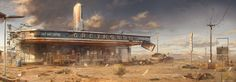 Landscape. abandoned bus station. desert. ArtStation - Call Of Juarez (Eagle Pass), Artur Sadlos