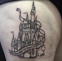 Blackwork Disney Castle Tattoo by Jordan Baker