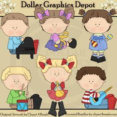 Musical Kids Clip Art Set, Created by Alice Smith - $1.00 : Great for Paper Crafts, Band Newsletters, Music Lesson Flyers, Music Teacher Appreciation Gifts, Bulletin Boards, Candy Bar Wrappers, Scrapbook Pages, and much more! www.DollarGraphicsDepot.com