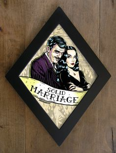 Gomez Addams and Morticia Addams diamond framed print. Solid Marriage