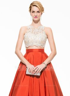 Ball-Gown Scoop Neck Floor-Length Beading Appliques Lace Sequins Zipper Up Regular Straps Sleeveless No 2016 Other Colors Spring Summer Fall General Plus Taffeta Prom Dress