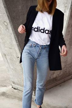 adidas t shirt 2017, levi's 501 jeans, black blazer outfit, minimal, katiquette