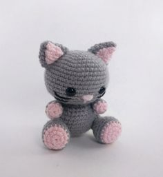 ******PLEASE NOTE: THIS IS A DIGITAL CROCHET PATTERN****** Create your own adorable little cat in just a few hours! This easy-to-follow pattern includes one PDF file with detailed instructions on how to crochet and assemble all the parts to make this little cat. Only basic crocheting skills will be needed: chain, single crochet, increasing and decreasing. Difficulty: Easy Materials needed: Crochet hook size: G/4.00mm Worsted weight yarn: light gray, light pink, black (or other colors o...