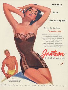 Illustration by Pete Hawley, 1952, 'Romance is in the air again!', Jantzen swimsuit ad, Look Magazine.