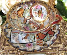 SATSUMA GILDED TEA CUP AND SAUCER EGGSHELL TEACUP BUTTERFLY GESHIA PAINTED