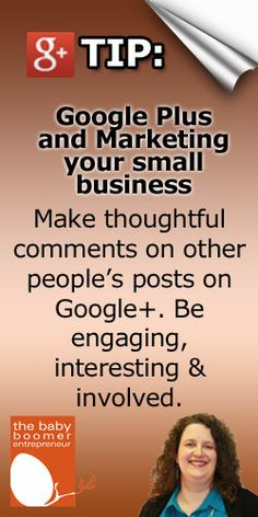 Google Plus Tip: Make thoughtful comments on other people's posts on Google+. Be engaging, interesting & involved.  Why? It shows other G+ers that you're not a spammer. You're there to engage.   See my Google Plus profile to get more tips like these as well as other social media marketing and small business tips. https://plus.google.com/+AndreaStenberg/