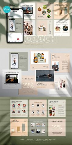 COACH - Canva Instagram Template  Instagram Canva Template for coaches, teachers, food bloggers, podcasters, personal trainers, nutrition experts and entrepreneurs. Featuring eye-candy minimalistic template designs to get your audience and sell your digital offers and courses. Coach Instagram, Being Used Quotes, Branding Template, Cosmetic Shop, Checklist Template, Brand Building, Coaches, Visual Identity, Colorful Backgrounds