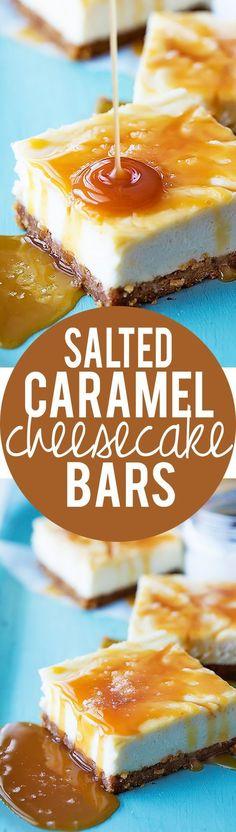 Salted Caramel Cheesecake Bars Recipe via Creme de la Crumb.