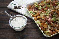 Sauce ranch maison et salade de pommes de terre rôties