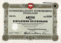 Actiengesellschaft Schwabenbräu Düsseldorf 1 000 RM1929
