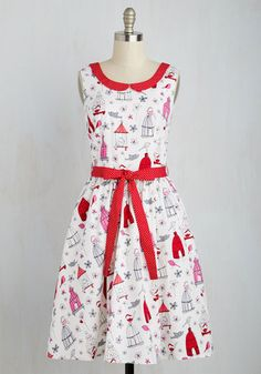 Oui Are the World Dress in Birds  Mademoiselle, you look tres belle in this white A-line dress, and you feel magnifique too! This dress is illustrated with birds, butterflies, and flowers in bright pink, red, and grey hues, all while boasting a red-and-white Peter Pan collar, matching tie belt, and a back V-neck. How lovely! The post  Oui Are the World Dress in Birds  appeared first on  Vintage & Curvy .  http://www.vintageandcurvy.com/product/oui-are-the-world-dress-in-birds