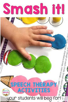 Speech Therapy Activities Your Kids will Beg For: Smash It! How you can use hands-on speech and language activities like this fun ice cream scoop smash mat for SK blends to keep wiggly children engaged in your speech therapy groups. Aba Therapy Activities, Preschool Speech Therapy, Communication Activities, Speech Therapy Activities, Preschool Activities, Toddler Speech Activities, Play Therapy, Therapy Ideas, Speach Therapy For Toddlers