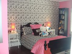 black, white and pink room idea. wallpaper