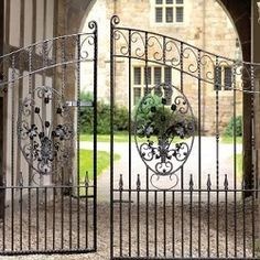 Stunning wrought iron styled double driveway gates