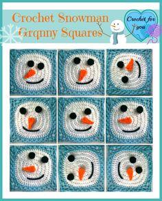 Crochet Snowman Granny Square ~ Erangi Udeshika – Crochet For You