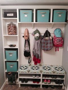 Mud Room Built Ins from Ikea Bookcases.I love the fabric on the bench. Need to find for my mudroom. Mudroom Laundry Room, Laundry Room Organization, Ikea Laundry, Small Laundry, Closet Mudroom, Garage Laundry, Laundry Baskets, Front Closet, Hallway Closet