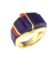 14k gold ring inlayed with amazing sugilite and Mediterranean coral by Charles Loloma.  Size 6 1/2.