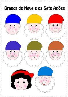 Branca de Neve e os 7 anões com moldes Bunny Crafts, Felt Crafts, Quiet Book Templates, Snow White Birthday, Felt Patterns, Felt Art, Recycled Crafts, Puppets, Kindergarten