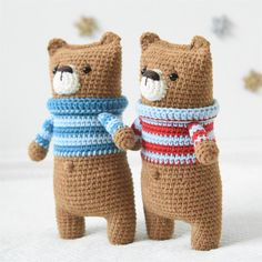 This is a DOWNLOADABLE PATTERN. Written in English using US terminology. I call this a one evening teddy bear. It`s so easy and fun to make. The body works up in one piece starting with the legs and ending with the ears, so it`s perfectly suitable for those who doesn`t like joining the pieces. With his worried face and cute striped sweater Lazybones bear probably melts anyones heart. Size: about 23 cm (9 inches) Skill level: intermediate (single crochet, double crochet) Supp...