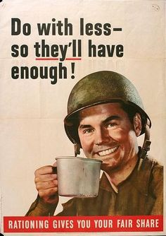 American World War 1 propaganda poster regarding the issue of rationing in the country. The poster is encouraging people to take only what they need and to share the rest throughout. I think this is a WWII helmet. Pin Up Vintage, Vintage Ads, Vintage Books, Vintage Signs, Propaganda Enganosa, Pseudo Science, Ww2 Posters, Retro Posters, Vintage Posters
