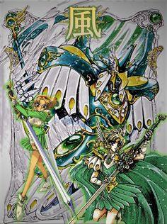 Fuu Hououji from Magic Knight Rayearth with her wind Mashin (Windam/Windom?).